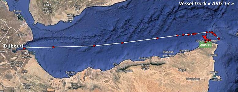 Vessel track of Aris 13 tanker from Djibouti to Mogadishu