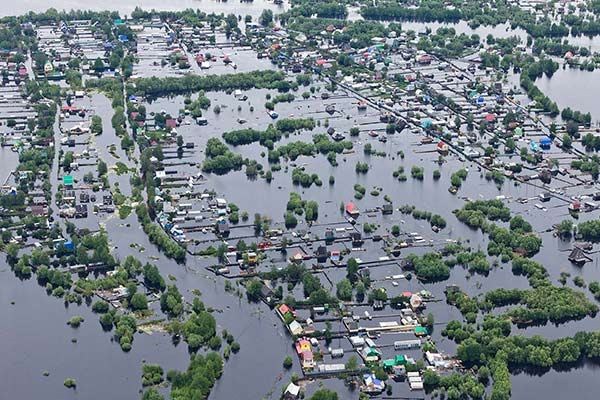 Flood prone area destroyed by flooded waters