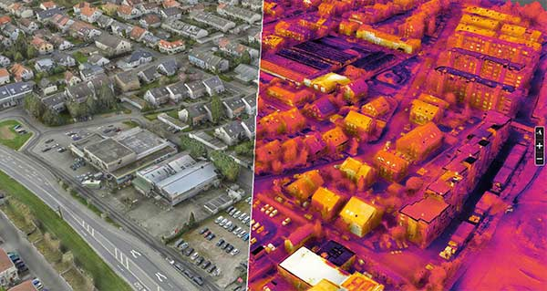 A high definition 3D model above the roofs of Schriesheim in a splitted view: optical model left and thermal model right