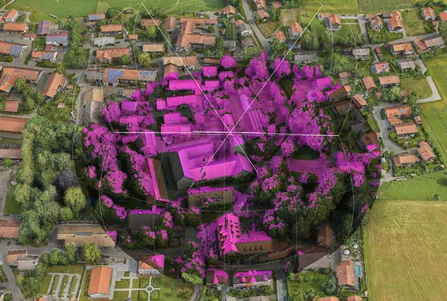 Representation of a signal's propagation, shown on a high resolution 3D Map of Aying, near Munich