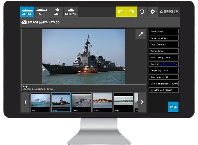 Airbus' RECCE Touch software allows the identification of objects