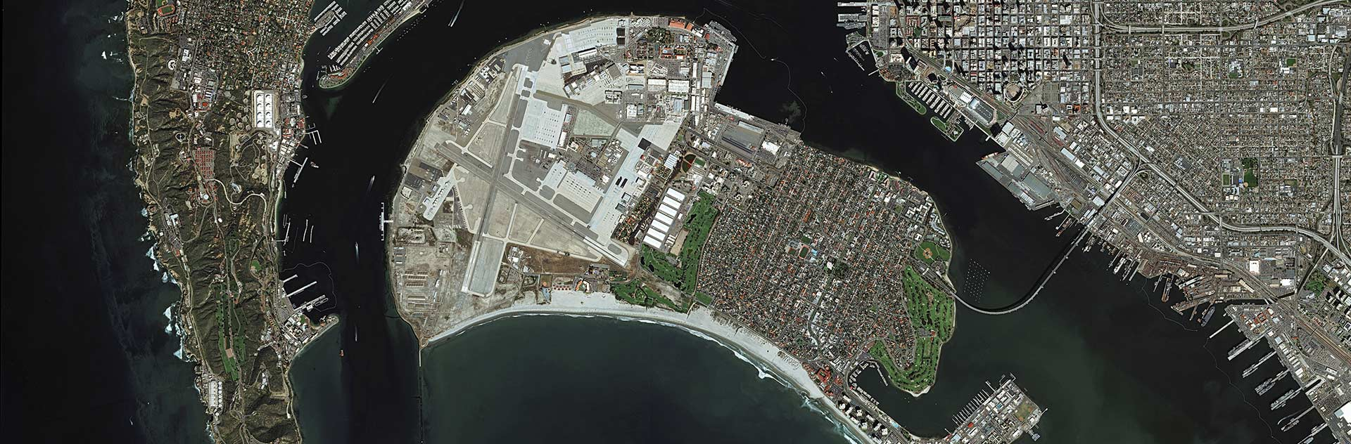 Monitoring of San Diego harbour activities on a parking lot where new cars are offloaded and stored, before moving them across the US for delivery