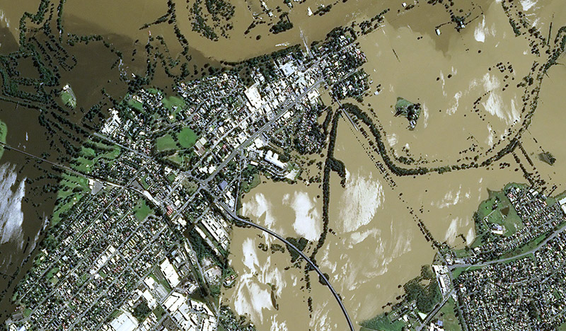 Hawkesbury River Valley floods in New South Wales, Australia on 24 March 2021