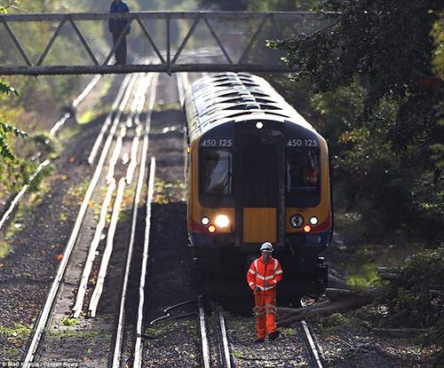 Inspection of train track disruption
