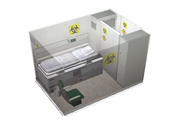 Fortion® TransHospital® wounded decontamination system compartment for the transportation of infectious patients