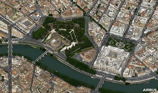 Castle San'Angelo , Roma, Italia at 30cm resolution by Pléiades Neo 3 satellite, copyright Airbus DS 2021