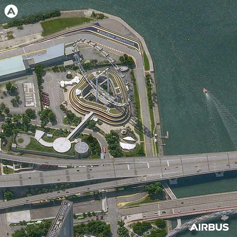 """Pléiades Neo Satellite Image - """"Singapore Flyers"""""""