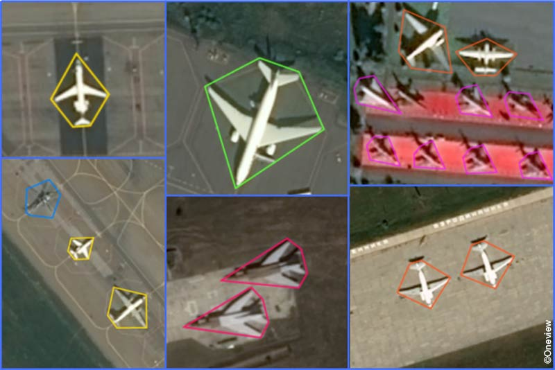 Real Pléiades satellite images with aircraft annotations