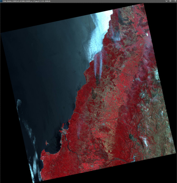 UK-DMC2 Satellite Image - Wildfires in Chile